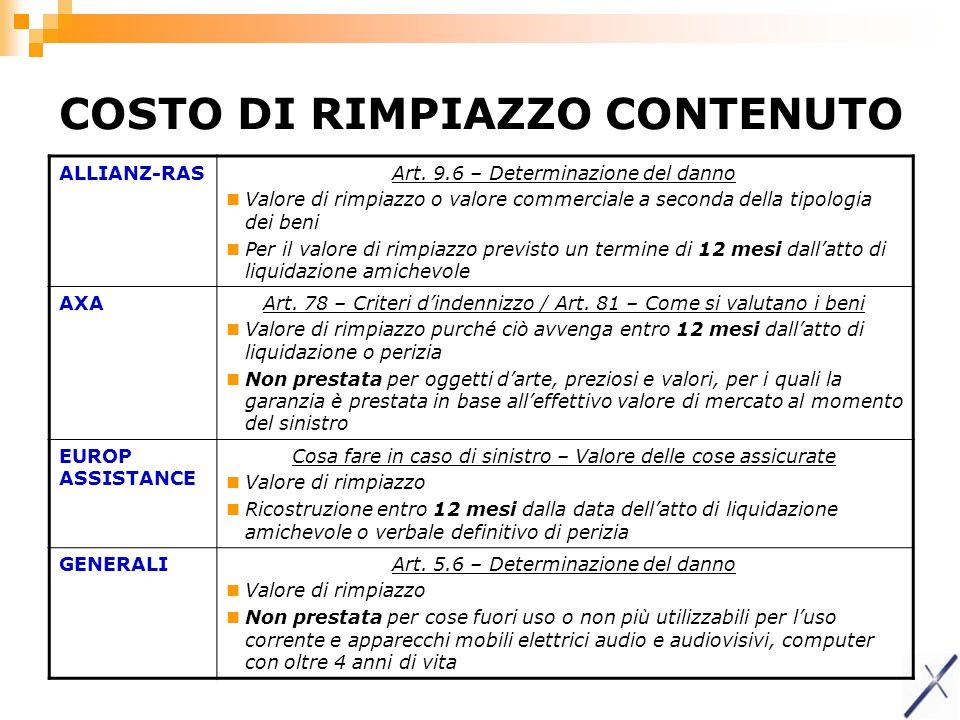 COSTO DI RIMPIAZZO CONTENUTO ALLIANZ-RASArt. 9.6 – Determinazione del danno Valore di rimpiazzo o valore commerciale a seconda della tipologia dei ben