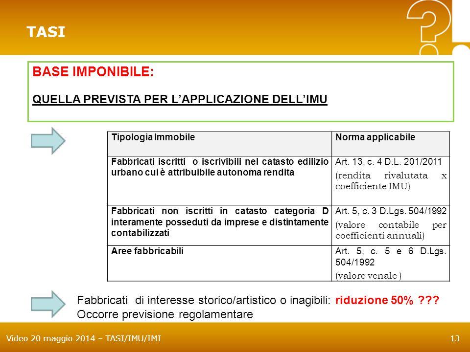 Video 20 maggio 2014 – TASI/IMU/IMI13 TASI BASE IMPONIBILE: QUELLA PREVISTA PER L'APPLICAZIONE DELL'IMU Tipologia ImmobileNorma applicabile Fabbricati