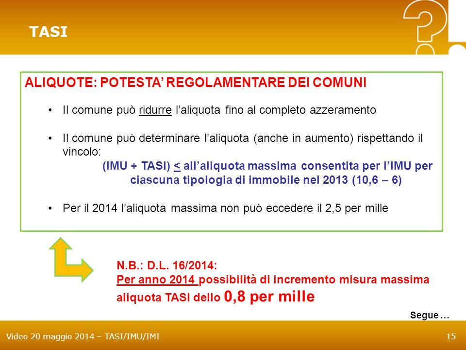 Video 20 maggio 2014 – TASI/IMU/IMI15 TASI ALIQUOTE: POTESTA' REGOLAMENTARE DEI COMUNI Il comune può ridurre l'aliquota fino al completo azzeramento I