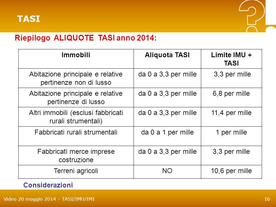 Video 20 maggio 2014 – TASI/IMU/IMI16 TASI Riepilogo ALIQUOTE TASI anno 2014: ImmobiliAliquota TASILimite IMU + TASI Abitazione principale e relative