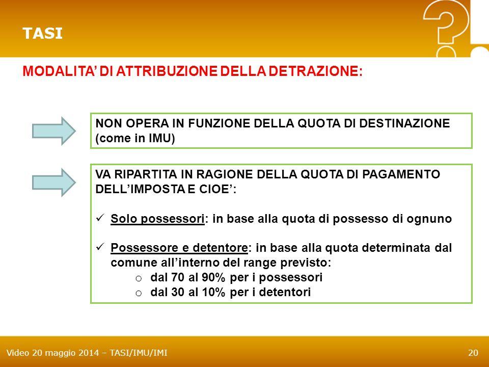 Video 20 maggio 2014 – TASI/IMU/IMI20 TASI MODALITA' DI ATTRIBUZIONE DELLA DETRAZIONE: NON OPERA IN FUNZIONE DELLA QUOTA DI DESTINAZIONE (come in IMU)