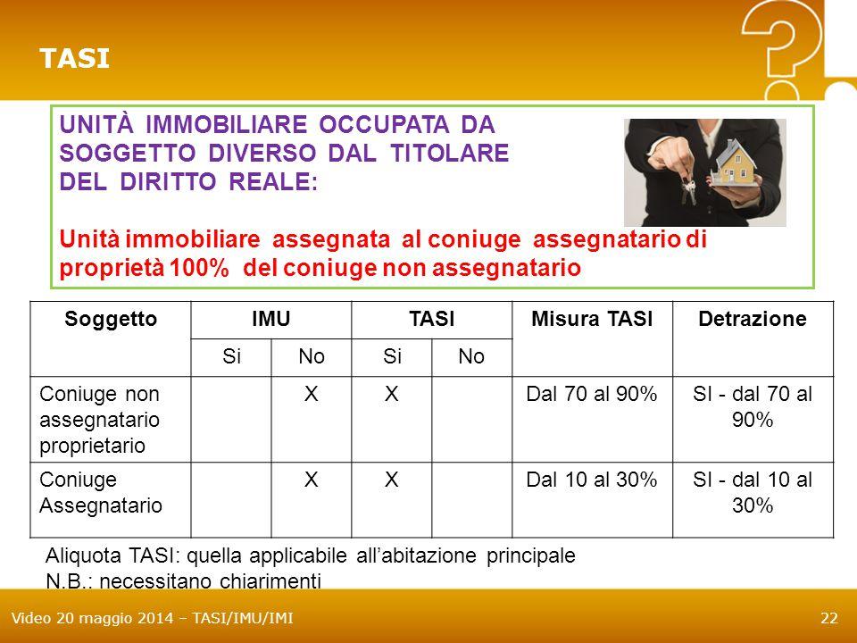 Video 20 maggio 2014 – TASI/IMU/IMI22 TASI UNITÀ IMMOBILIARE OCCUPATA DA SOGGETTO DIVERSO DAL TITOLARE DEL DIRITTO REALE: Unità immobiliare assegnata