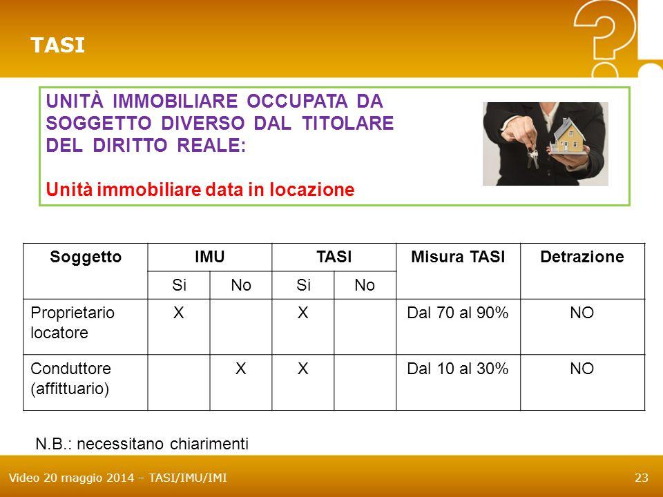 Video 20 maggio 2014 – TASI/IMU/IMI23 TASI UNITÀ IMMOBILIARE OCCUPATA DA SOGGETTO DIVERSO DAL TITOLARE DEL DIRITTO REALE: Unità immobiliare data in locazione SoggettoIMUTASIMisura TASIDetrazione SiNoSiNo Proprietario locatore XXDal 70 al 90%NO Conduttore (affittuario) XXDal 10 al 30%NO N.B.: necessitano chiarimenti