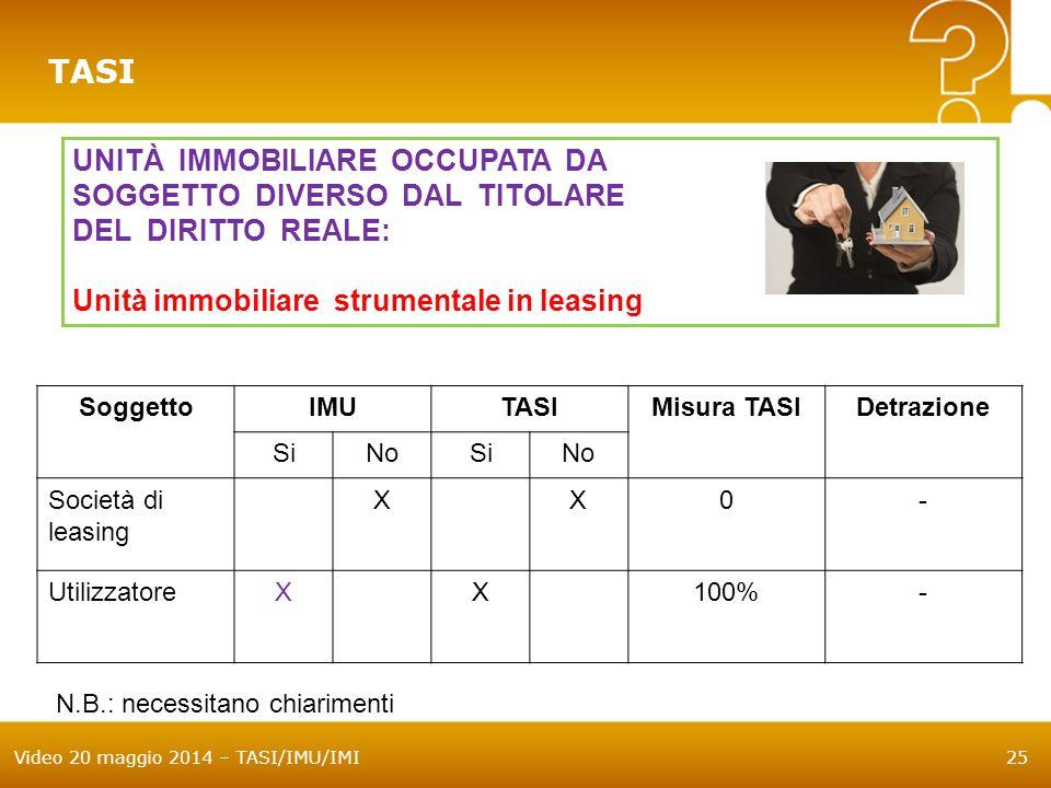 Video 20 maggio 2014 – TASI/IMU/IMI25 TASI UNITÀ IMMOBILIARE OCCUPATA DA SOGGETTO DIVERSO DAL TITOLARE DEL DIRITTO REALE: Unità immobiliare strumentale in leasing SoggettoIMUTASIMisura TASIDetrazione SiNoSiNo Società di leasing XX0- UtilizzatoreXX100%- N.B.: necessitano chiarimenti