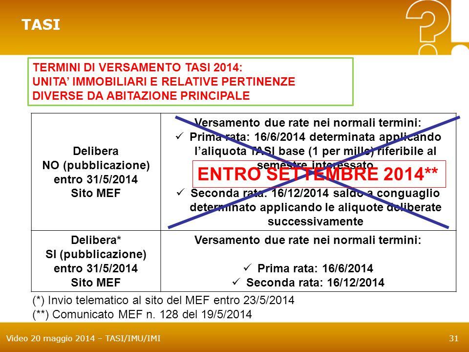 Video 20 maggio 2014 – TASI/IMU/IMI31 TASI TERMINI DI VERSAMENTO TASI 2014: UNITA' IMMOBILIARI E RELATIVE PERTINENZE DIVERSE DA ABITAZIONE PRINCIPALE Delibera NO (pubblicazione) entro 31/5/2014 Sito MEF Versamento due rate nei normali termini: Prima rata: 16/6/2014 determinata applicando l'aliquota TASI base (1 per mille) riferibile al semestre interessato Seconda rata: 16/12/2014 saldo a conguaglio determinato applicando le aliquote deliberate successivamente Delibera* SI (pubblicazione) entro 31/5/2014 Sito MEF Versamento due rate nei normali termini: Prima rata: 16/6/2014 Seconda rata: 16/12/2014 ENTRO SETTEMBRE 2014** (*) Invio telematico al sito del MEF entro 23/5/2014 (**) Comunicato MEF n.