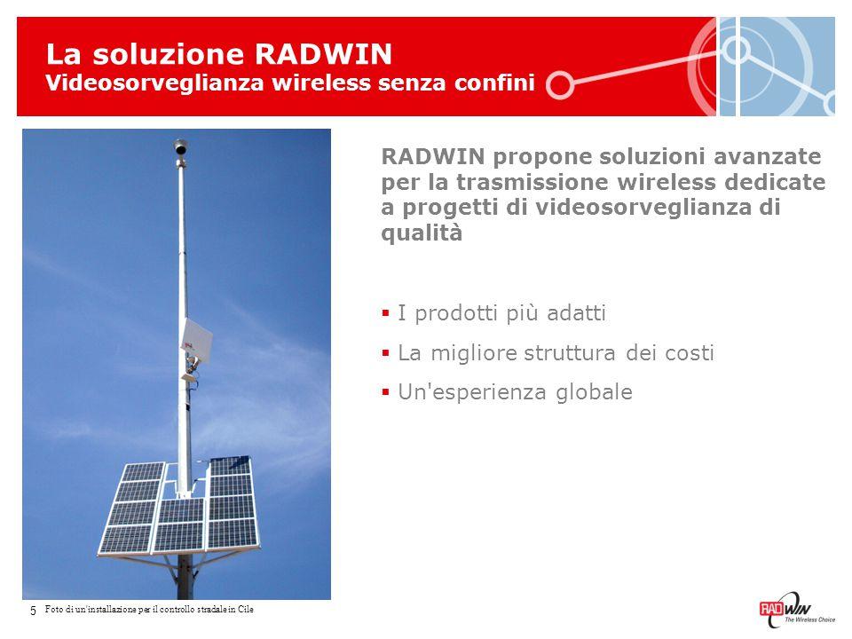 Caratteristiche della soluzione RADWIN  RADWIN fornisce soluzioni wireless in banda larga  Molteplici bande di frequenza fino a 6 GHz  Tecnologia OFDM per operazioni near/non line-of-sight  Architetture Punto-Punto e Multipli Punto-Punto  RADWIN Network Management System (RNMS) per controllare facilmente reti complesse  Supporto di molteplici scenari di accesso e backhaul 16 Throughput max.