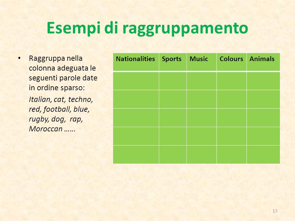 Esempi di raggruppamento Raggruppa nella colonna adeguata le seguenti parole date in ordine sparso: Italian, cat, techno, red, football, blue, rugby,