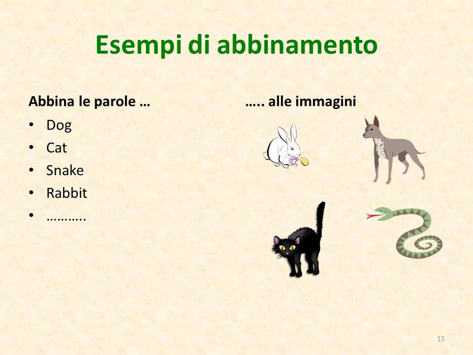 Esempi di abbinamento Abbina le parole … Dog Cat Snake Rabbit ……….. ….. alle immagini 15