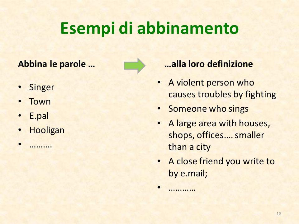 Esempi di abbinamento Abbina le parole … Singer Town E.pal Hooligan ………. …alla loro definizione A violent person who causes troubles by fighting Someo