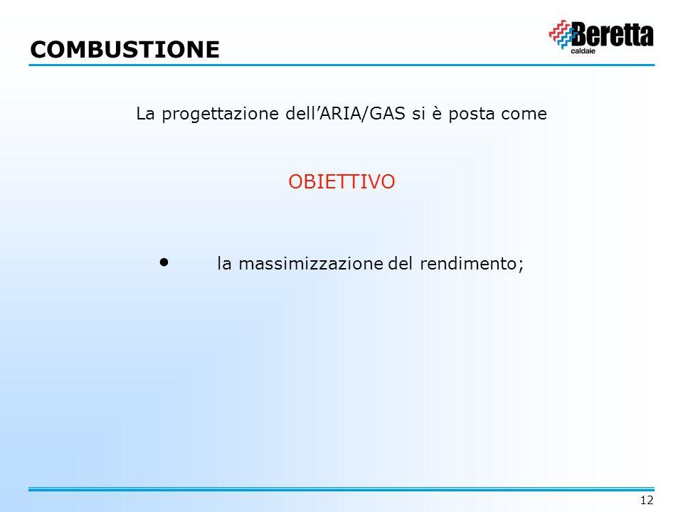 12 La progettazione dell'ARIA/GAS si è posta come OBIETTIVO la massimizzazione del rendimento; COMBUSTIONE