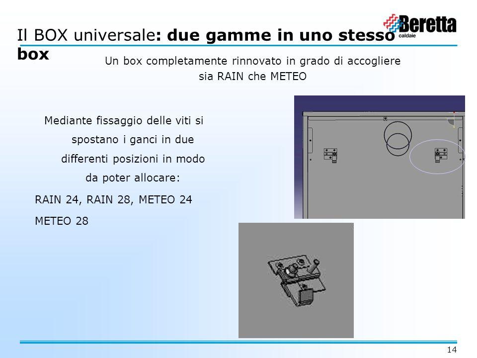 14 Il BOX universale Il BOX universale: due gamme in uno stesso box Un box completamente rinnovato in grado di accogliere sia RAIN che METEO Mediante