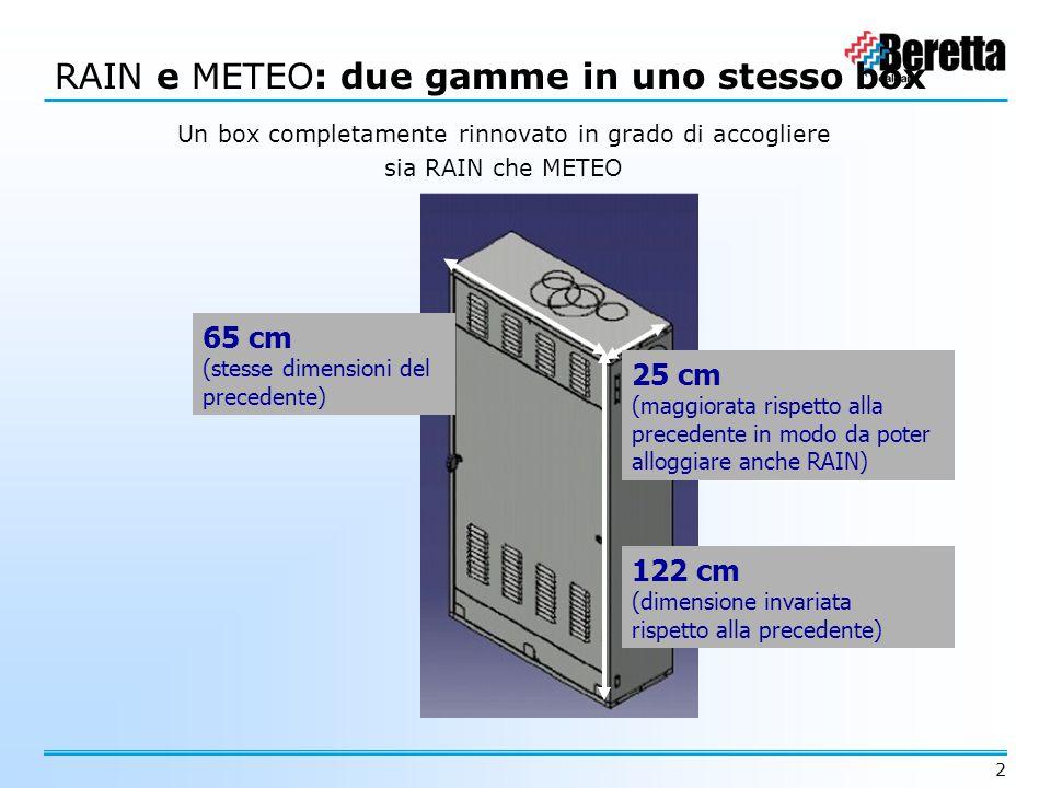 2 RAINMETEO RAIN e METEO: due gamme in uno stesso box Un box completamente rinnovato in grado di accogliere sia RAIN che METEO 65 cm (stesse dimension