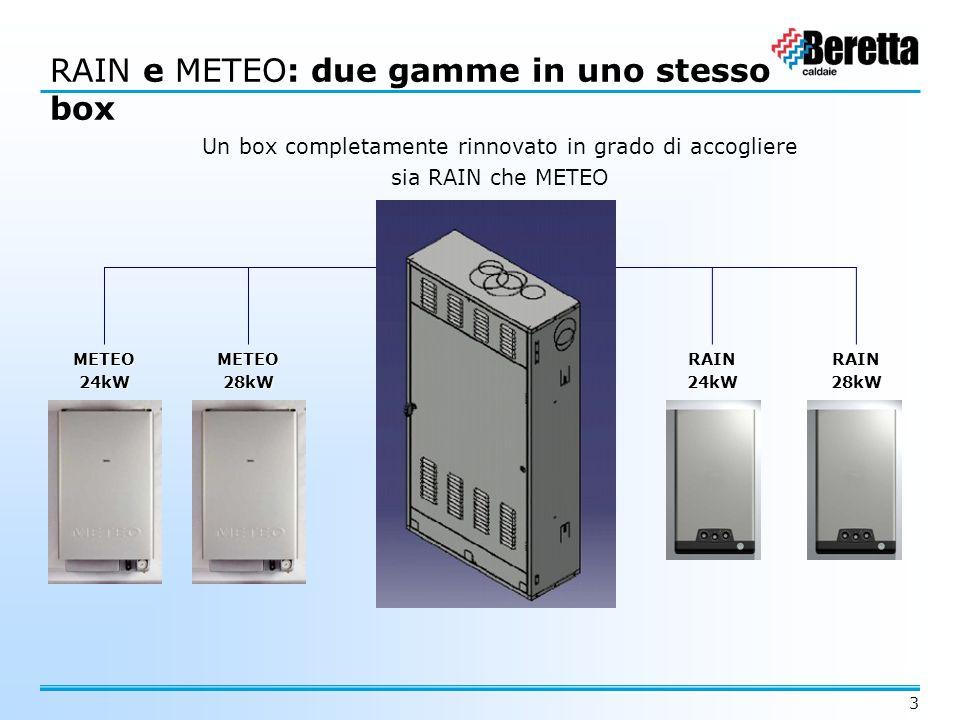 3 Box unico RAINMETEO RAIN e METEO: due gamme in uno stesso box Un box completamente rinnovato in grado di accogliere sia RAIN che METEO METEO24kWMETE