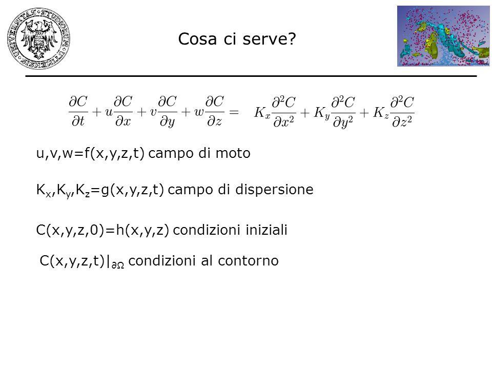 Cosa ci serve? u,v,w=f(x,y,z,t) campo di moto K x,K y,K z =g(x,y,z,t) campo di dispersione C(x,y,z,0)=h(x,y,z) condizioni iniziali C(x,y,z,t)| ∂Ω cond