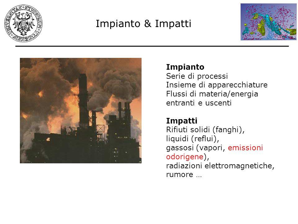Impianto & Impatti Impianto Serie di processi Insieme di apparecchiature Flussi di materia/energia entranti e uscenti Impatti Rifiuti solidi (fanghi),