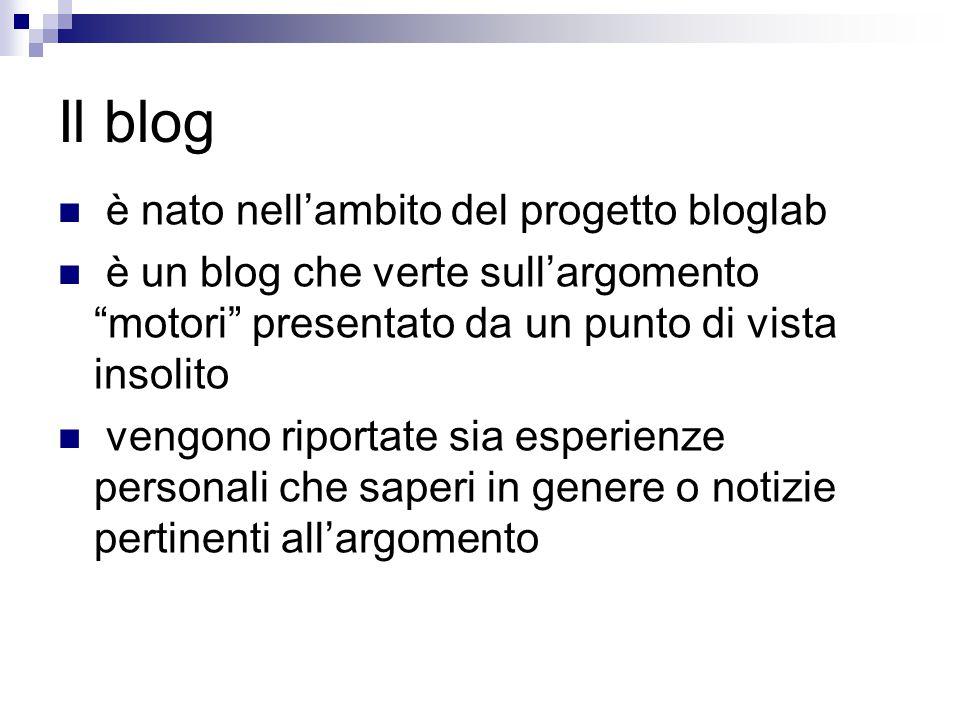 Il blog è nato nell'ambito del progetto bloglab è un blog che verte sull'argomento motori presentato da un punto di vista insolito vengono riportate sia esperienze personali che saperi in genere o notizie pertinenti all'argomento