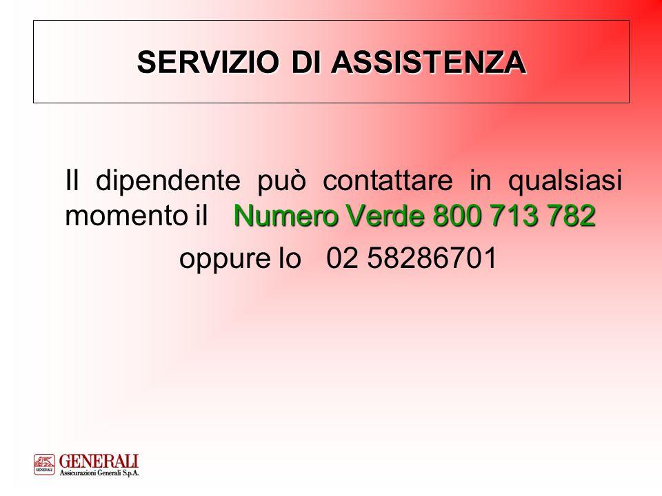 SERVIZIO DI ASSISTENZA Numero Verde 800 713 782 Il dipendente può contattare in qualsiasi momento il Numero Verde 800 713 782 oppure lo 02 58286701