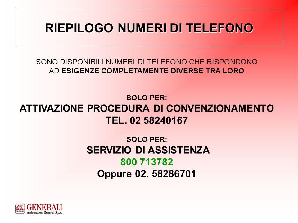 RIEPILOGO NUMERI DI TELEFONO SONO DISPONIBILI NUMERI DI TELEFONO CHE RISPONDONO AD ESIGENZE COMPLETAMENTE DIVERSE TRA LORO SOLO PER: ATTIVAZIONE PROCEDURA DI CONVENZIONAMENTO TEL.