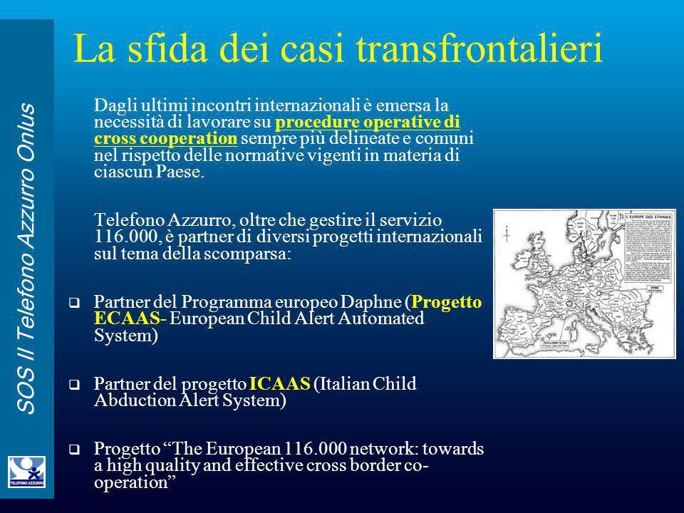 SOS Il Telefono Azzurro Onlus La sfida dei casi transfrontalieri Dagli ultimi incontri internazionali è emersa la necessità di lavorare su procedure o