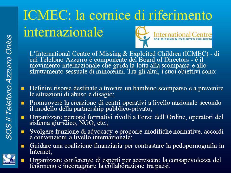 SOS Il Telefono Azzurro Onlus ICMEC: la cornice di riferimento internazionale L'International Centre of Missing & Exploited Children (ICMEC) - di cui