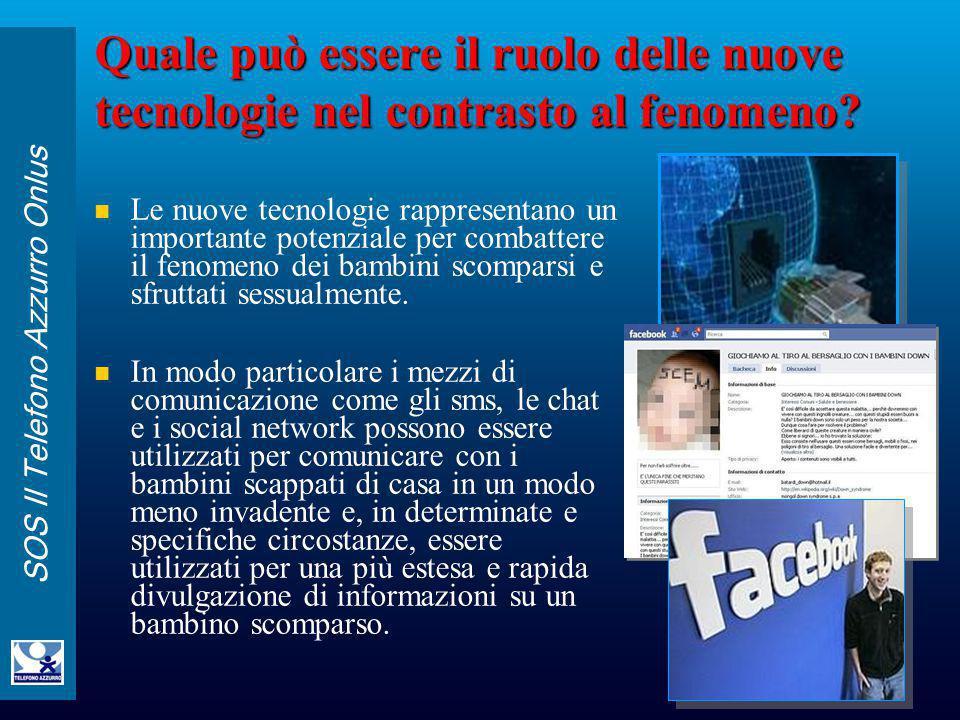 SOS Il Telefono Azzurro Onlus Quale può essere il ruolo delle nuove tecnologie nel contrasto al fenomeno? Le nuove tecnologie rappresentano un importa