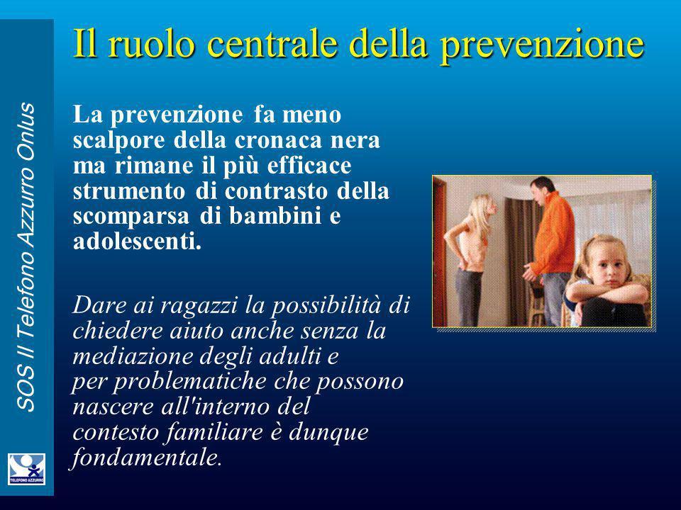 SOS Il Telefono Azzurro Onlus Il ruolo centrale della prevenzione La prevenzione fa meno scalpore della cronaca nera ma rimane il più efficace strumen