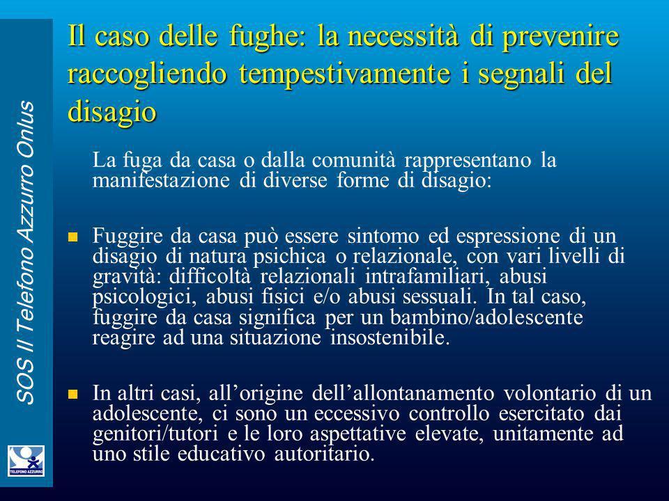 SOS Il Telefono Azzurro Onlus Il caso delle fughe: la necessità di prevenire raccogliendo tempestivamente i segnali del disagio La fuga da casa o dall