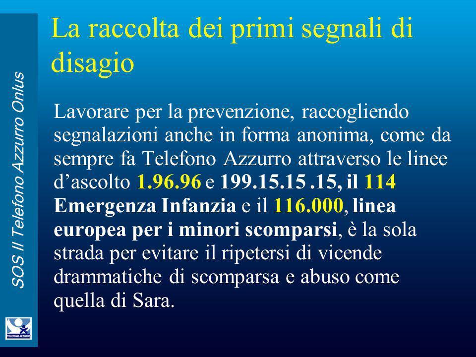 SOS Il Telefono Azzurro Onlus La raccolta dei primi segnali di disagio Lavorare per la prevenzione, raccogliendo segnalazioni anche in forma anonima,