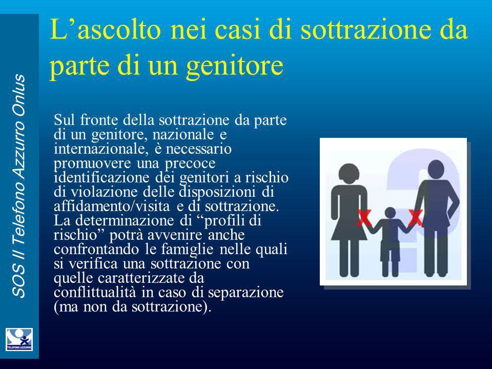 SOS Il Telefono Azzurro Onlus L'ascolto nei casi di sottrazione da parte di un genitore Sul fronte della sottrazione da parte di un genitore, nazional