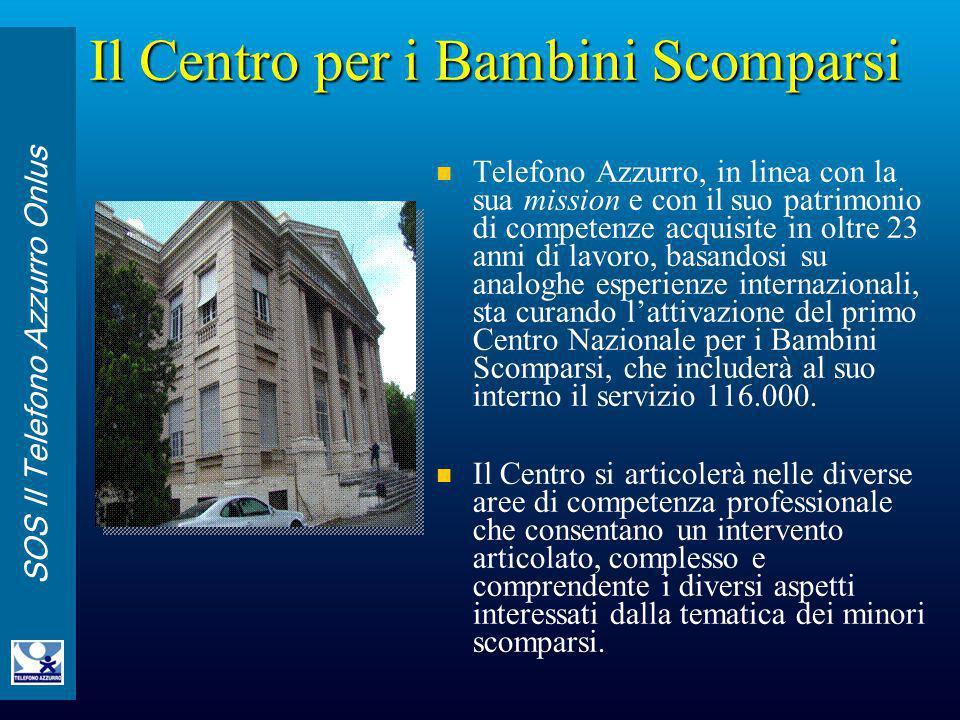 SOS Il Telefono Azzurro Onlus Il Centro per i Bambini Scomparsi Telefono Azzurro, in linea con la sua mission e con il suo patrimonio di competenze ac