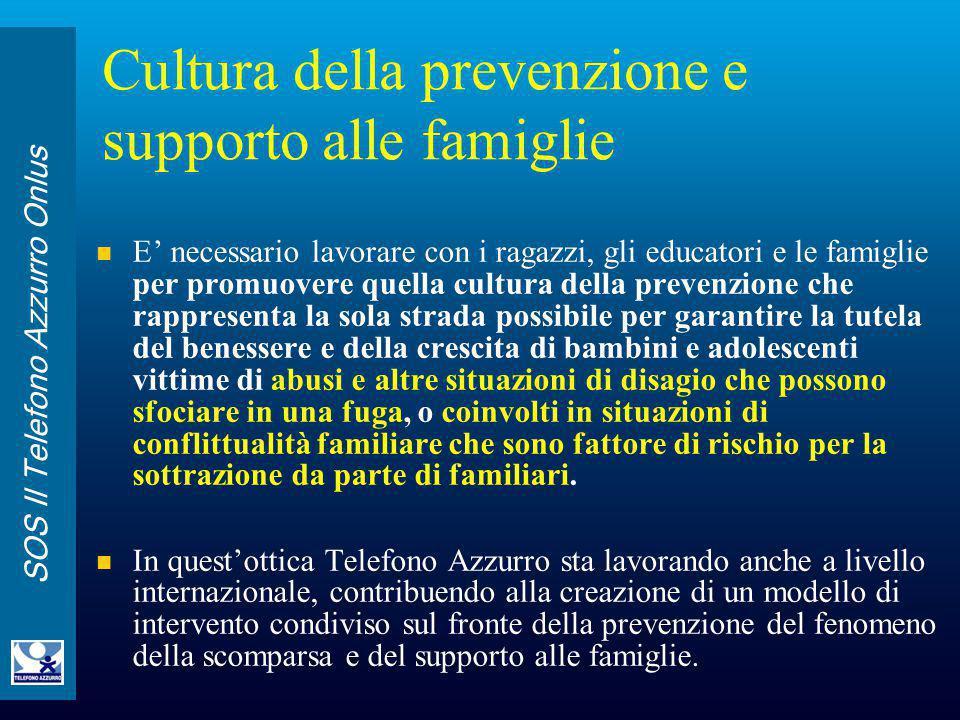 SOS Il Telefono Azzurro Onlus Cultura della prevenzione e supporto alle famiglie E' necessario lavorare con i ragazzi, gli educatori e le famiglie per