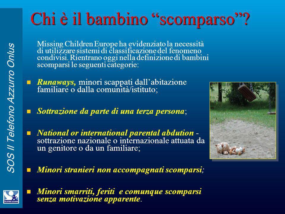 """SOS Il Telefono Azzurro Onlus Chi è il bambino """"scomparso""""? Missing Children Europe ha evidenziato la necessità di utilizzare sistemi di classificazio"""