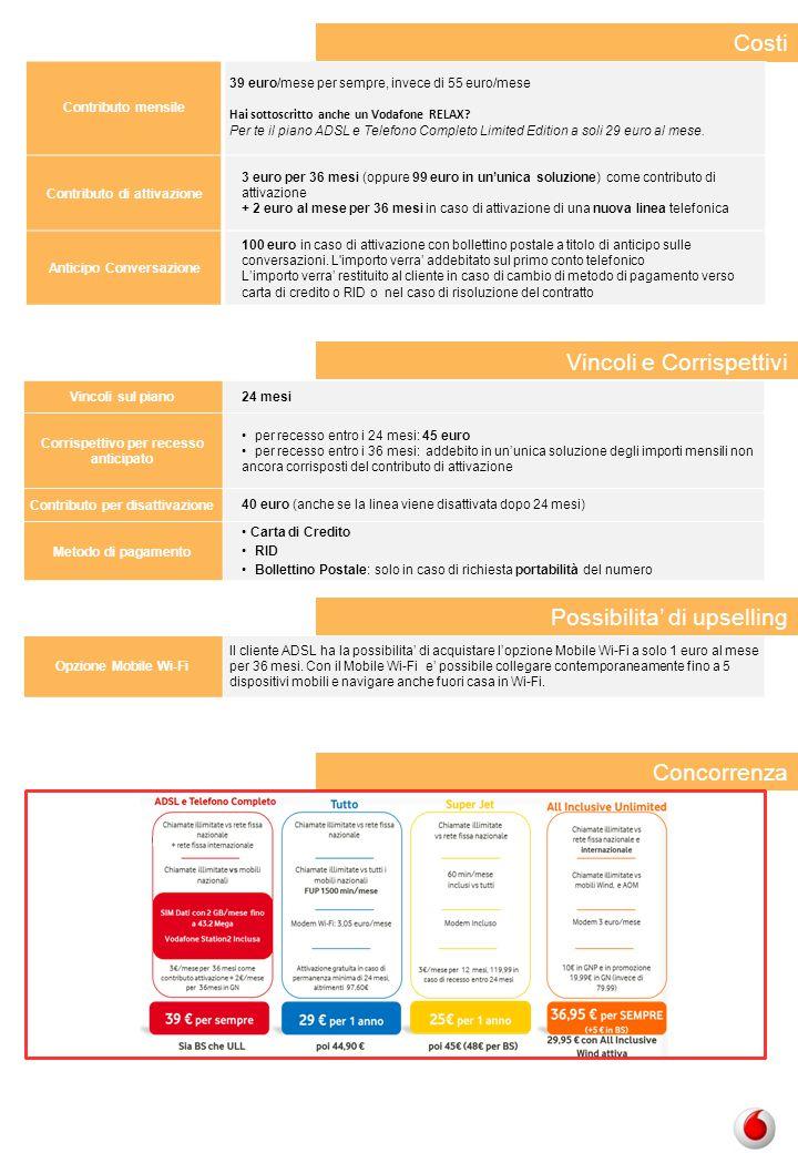 Concorrenza Contributo mensile 39 euro/mese per sempre, invece di 55 euro/mese Hai sottoscritto anche un Vodafone RELAX? Per te il piano ADSL e Telefo