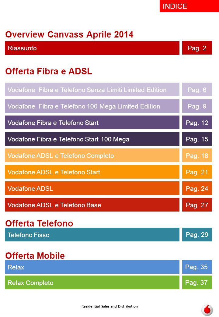 INDICE Offerta Fibra e ADSL Vodafone ADSL e Telefono Start Pag. 21 Vodafone ADSL e Telefono Completo Pag. 18 Vodafone ADSL Pag. 24 Residential Sales a