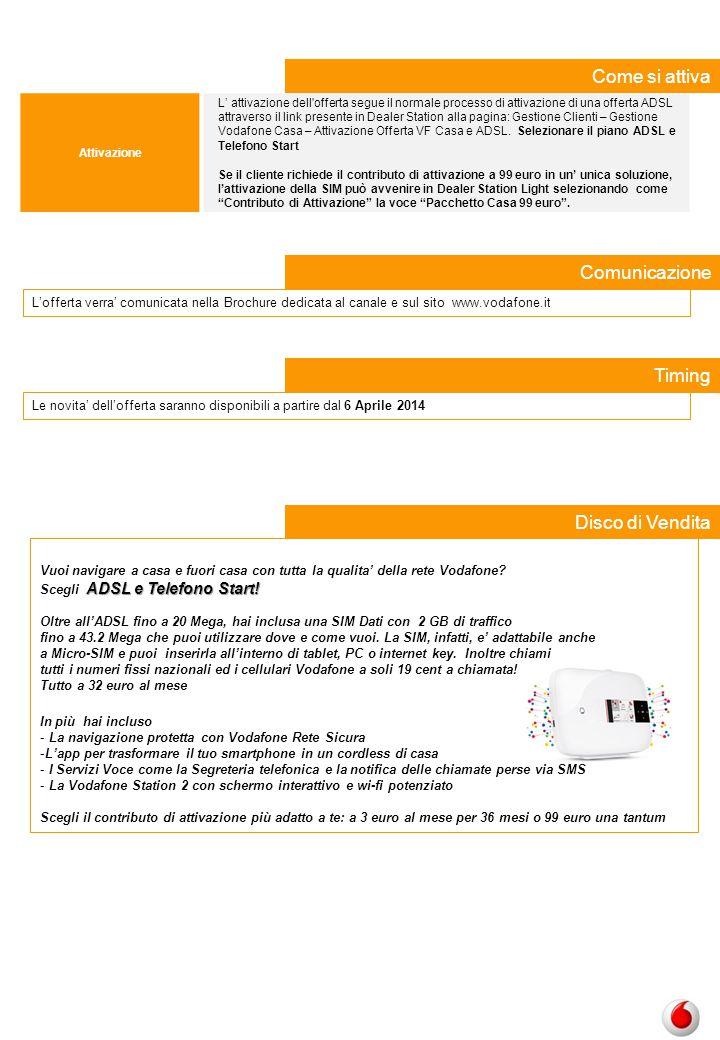 Attivazione L' attivazione dell'offerta segue il normale processo di attivazione di una offerta ADSL attraverso il link presente in Dealer Station all