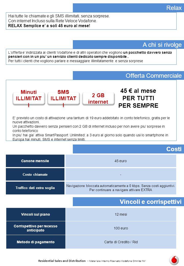 Relax Residential Sales and Distribution - Materiale Interno Riservato Vodafone Omnitel NV Costi A chi si rivolge Offerta Commerciale Se Canone mensil