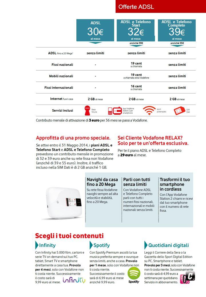 30 € ADSL al mese 32 € ADSL e Telefono Start al mese 39 € ADSL e Telefono Completo al mese Offerte ADSL