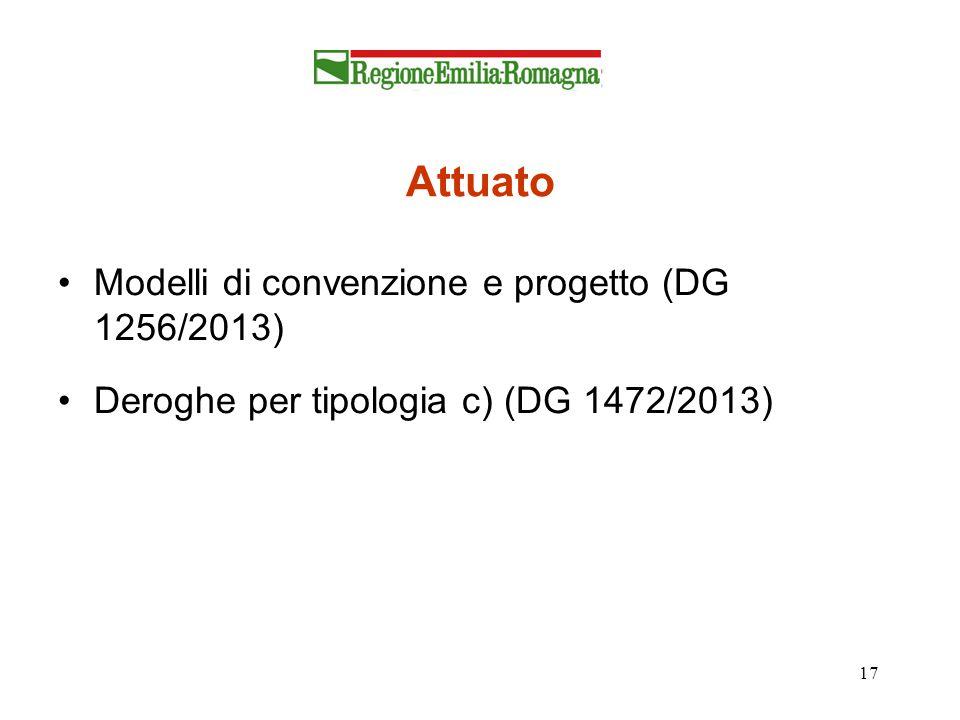 17 Attuato Modelli di convenzione e progetto (DG 1256/2013) Deroghe per tipologia c) (DG 1472/2013)