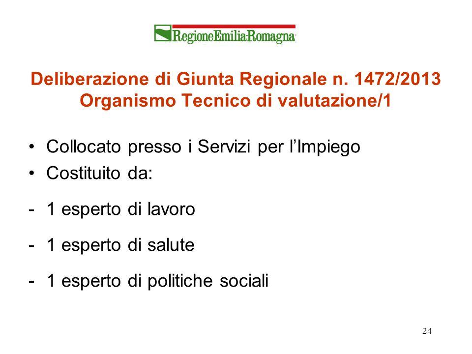 24 Deliberazione di Giunta Regionale n. 1472/2013 Organismo Tecnico di valutazione/1 Collocato presso i Servizi per l'Impiego Costituito da: -1 espert