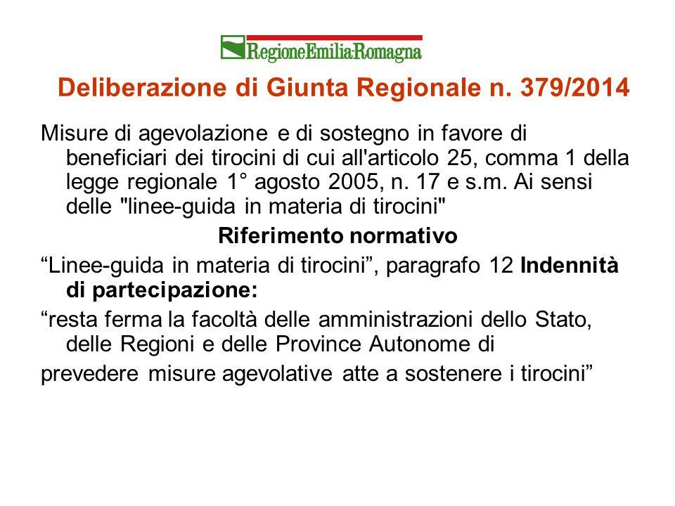 Deliberazione di Giunta Regionale n. 379/2014 Misure di agevolazione e di sostegno in favore di beneficiari dei tirocini di cui all'articolo 25, comma