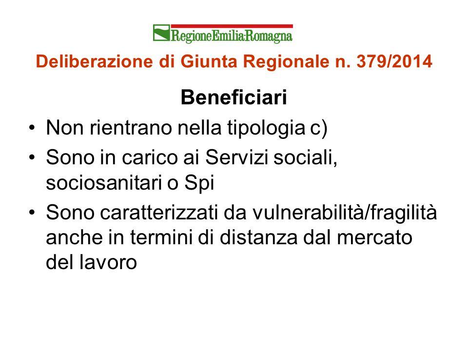 Deliberazione di Giunta Regionale n. 379/2014 Beneficiari Non rientrano nella tipologia c) Sono in carico ai Servizi sociali, sociosanitari o Spi Sono