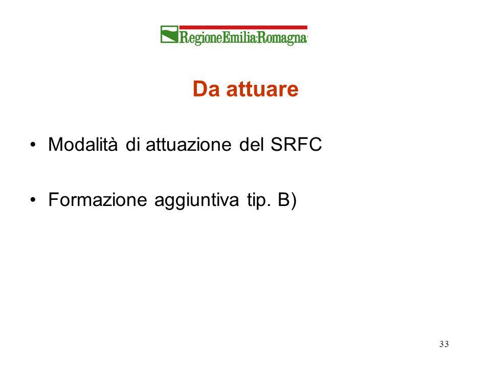 33 Da attuare Modalità di attuazione del SRFC Formazione aggiuntiva tip. B)