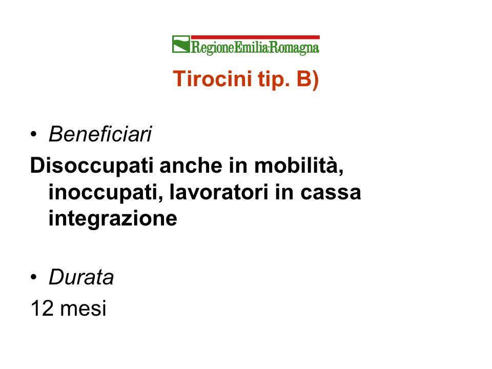 Tirocini tip. B) Beneficiari Disoccupati anche in mobilità, inoccupati, lavoratori in cassa integrazione Durata 12 mesi