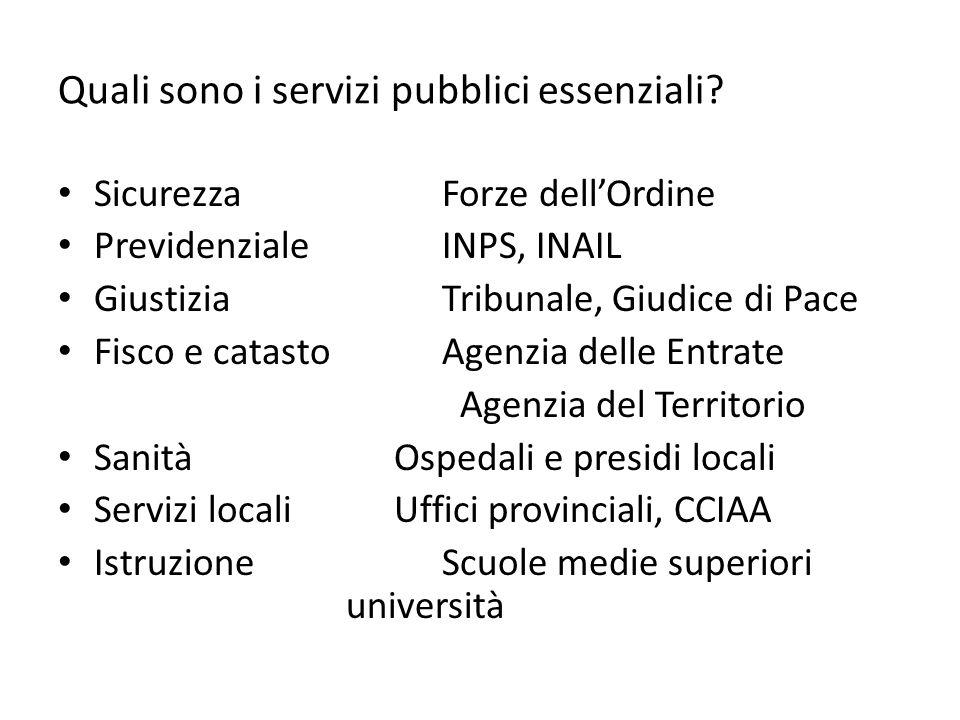 Quali sono i servizi pubblici essenziali.