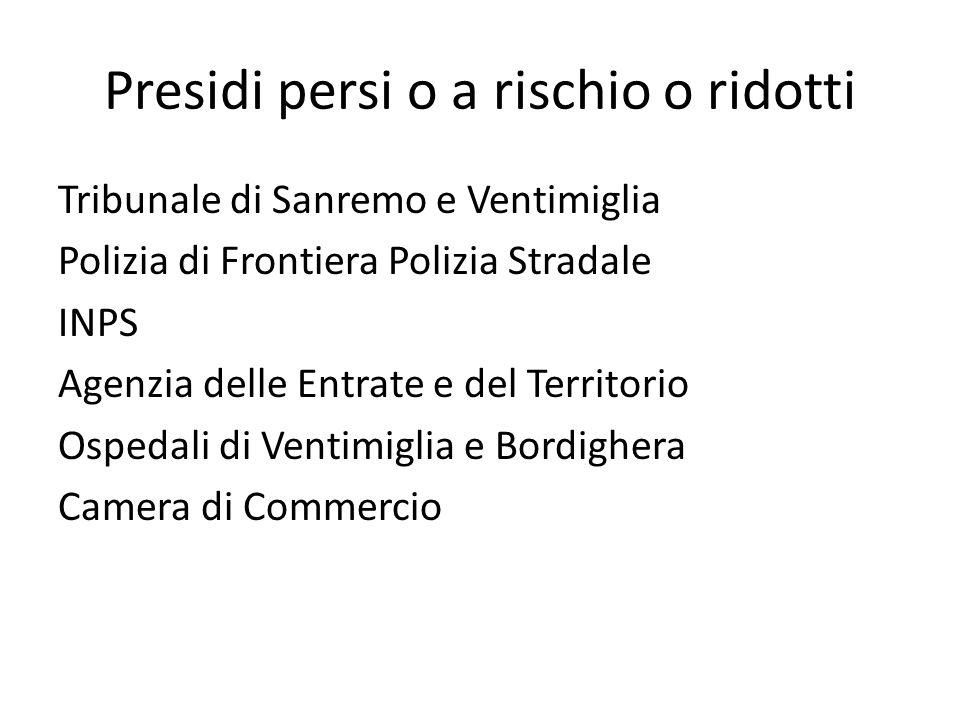 Presidi persi o a rischio o ridotti Tribunale di Sanremo e Ventimiglia Polizia di Frontiera Polizia Stradale INPS Agenzia delle Entrate e del Territorio Ospedali di Ventimiglia e Bordighera Camera di Commercio