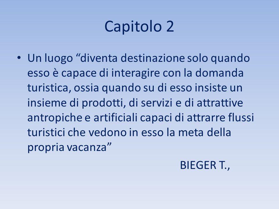"""Capitolo 2 Un luogo """"diventa destinazione solo quando esso è capace di interagire con la domanda turistica, ossia quando su di esso insiste un insieme"""