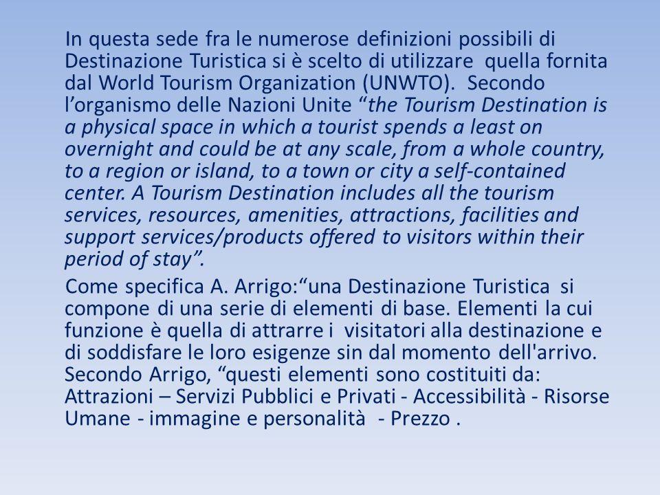In questa sede fra le numerose definizioni possibili di Destinazione Turistica si è scelto di utilizzare quella fornita dal World Tourism Organization