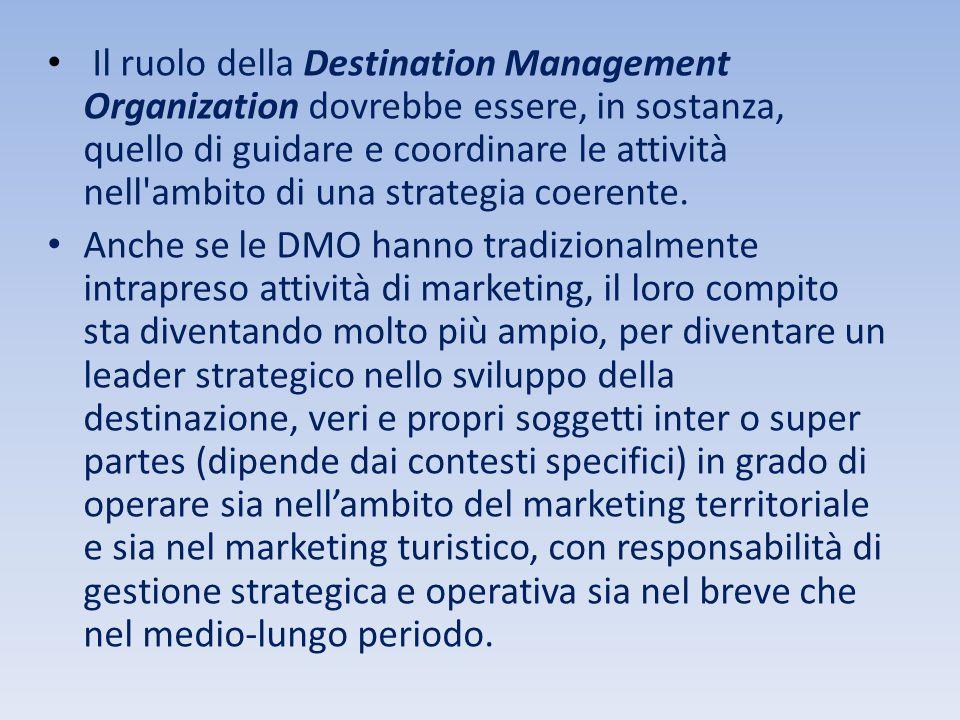 Il ruolo della Destination Management Organization dovrebbe essere, in sostanza, quello di guidare e coordinare le attività nell'ambito di una strateg