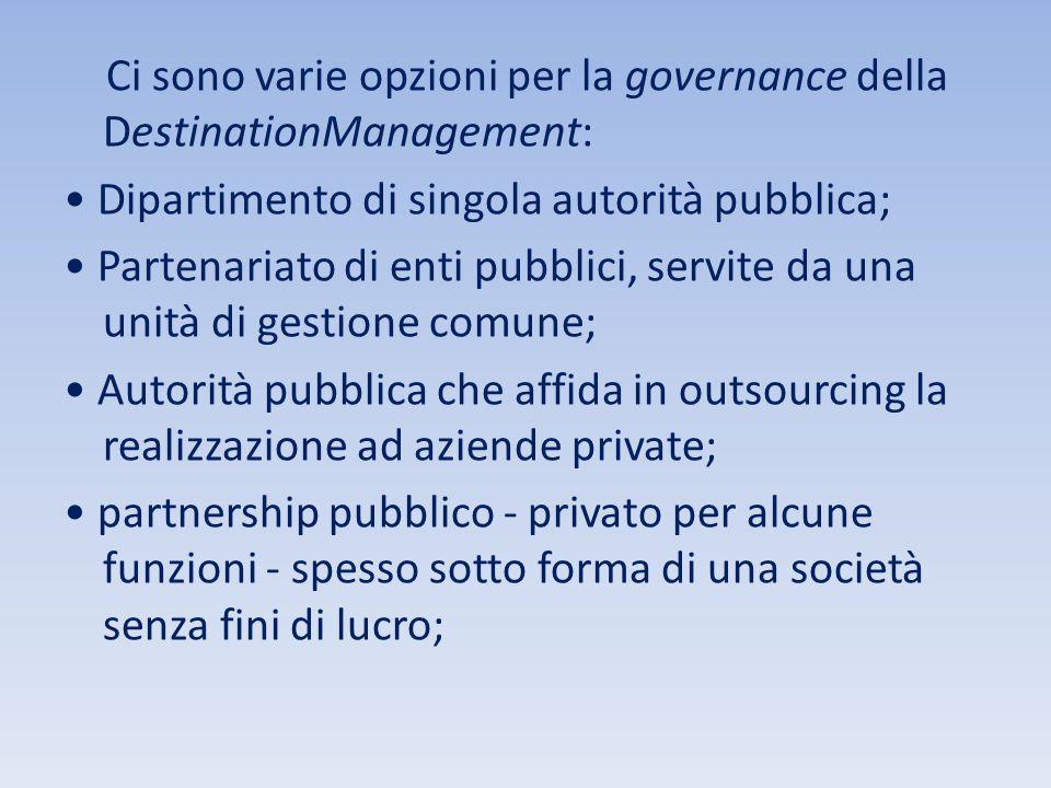 Ci sono varie opzioni per la governance della DestinationManagement: Dipartimento di singola autorità pubblica; Partenariato di enti pubblici, servite