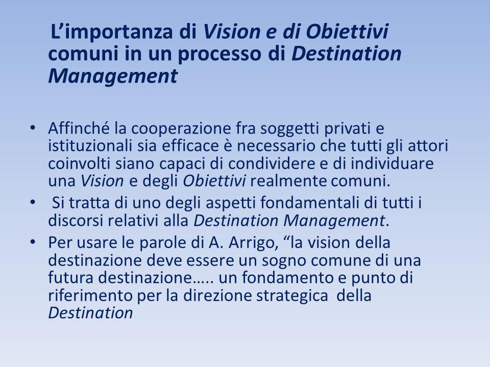 L'importanza di Vision e di Obiettivi comuni in un processo di Destination Management Affinché la cooperazione fra soggetti privati e istituzionali si
